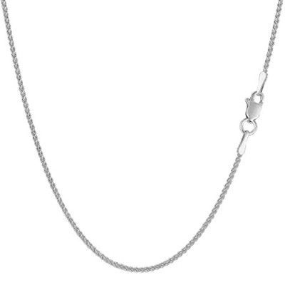 14k White Gold Round Wheat Chain Necklace, 1.2mm, 18""