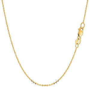 """14k Yellow Gold Cable Link Chain Necklace, 1.1mm, 16"""""""