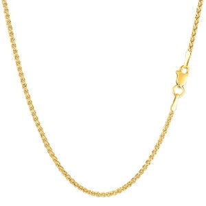 14k Yellow Gold Round Wheat Chain Necklace, 1.5mm, 16""