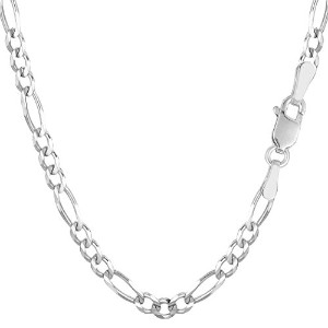 14k White Gold Classic Figaro Chain Necklace, 3.9mm, 22""