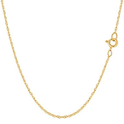 14k Yellow Gold Rope Chain Necklace, 0.9mm, 18""