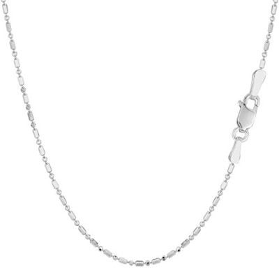 14k White Gold Diamond Cut Bead Chain Necklace, 1.2mm, 18""