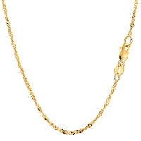 """10k Yellow Gold Singapore Chain Necklace, 1.7mm, 18"""""""