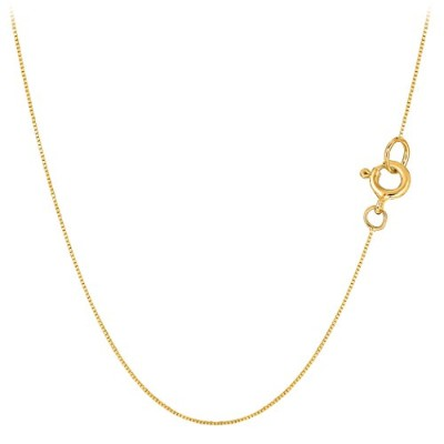 10k Yellow Gold Classic Mirror Box Chain Necklace, 0.45mm, 16""