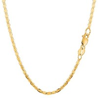 """10k Yellow Gold Mariner Link Chain Necklace, 2.3mm, 24"""""""