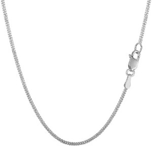 """10k White Gold Gourmette Chain Necklace, 1.5mm, 18"""""""