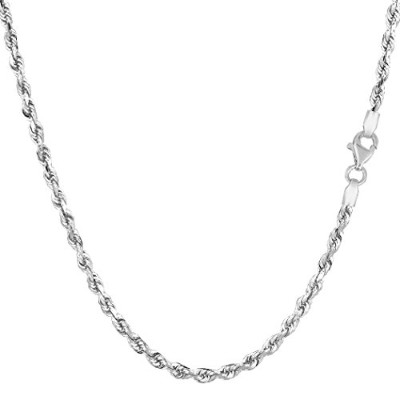 14k White Gold Solid Diamond Cut Royal Rope Chain Necklace, 2.5mm, 18""