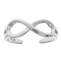 Sterling Silver Shinny Infinity Cuff Style Adjustable Toe Ring