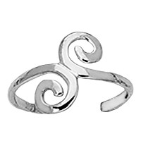 Sterling Silver Swirl Design Cuff Style Adjustable Toe Ring