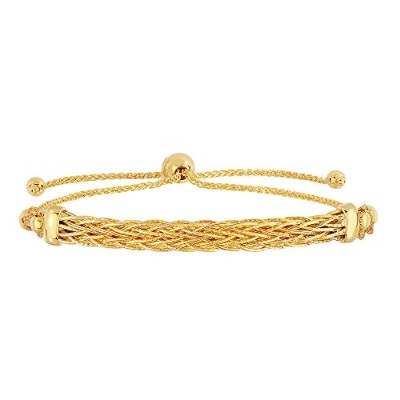 """14K Yellow Gold Diamond Cut Round Wheat Bracelet With Arched Weave Center Element, 9.25"""""""