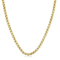 """14K Yellow Gold Filled Round Box Chain Necklace, 3.4mm, 22"""""""