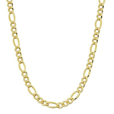 (24.0 inches) - 14K Yellow Gold Filled Solid Figaro Chain Necklace, 4.0 mm Wide