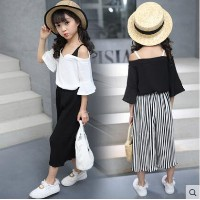 Girl summer suit 2017 new two-piece summer Korean version of the big childrens childrens clothing