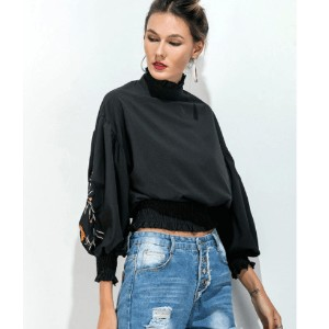 Plus Size Vintage Women Embroidery Ruched Blouse