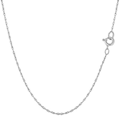 """14k White Gold Rope Chain Necklace, 0.6mm, 18"""""""