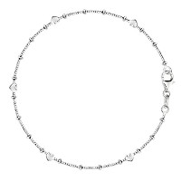 """Box Chain With Heart Beads Anklet In Sterling Silver, 11"""""""