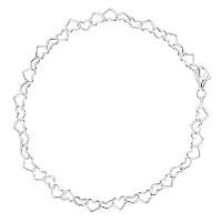 Hearts Link Chain Anklet In Sterling Silver, 9""