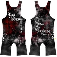 4-time Psalm 144 : 1 Sublimated Wrestling Singlet : Youthと男性サイズ L ブラック