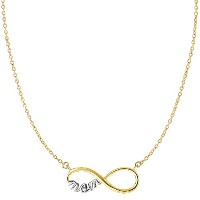 "14k 2 Tone Gold Infinity Pendant With Script Mom On 18"" Necklace"