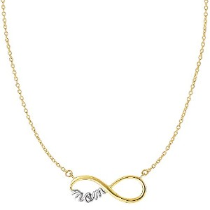 """14k 2 Tone Gold Infinity Pendant With Script Mom On 18"""" Necklace"""