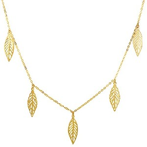 """14k Yellow Gold 5 Hanging Leaf Pendants On 18"""" Necklace"""