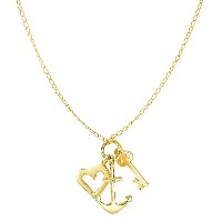 """14k Yellow Gold Key Anchor And Heart Charms On 18"""" Necklace"""