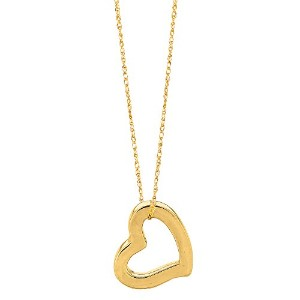 """14k Yellow Gold Heart Shaped Tube Pendant On 18"""" Necklace"""