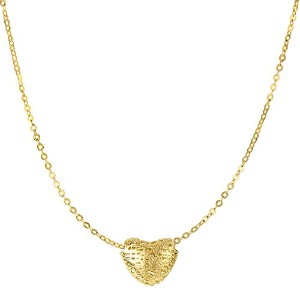 """14k Yellow Gold Textured Puffed Heart Pendant On 17"""" Necklace"""