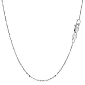"""10k White Gold Cable Link Chain Necklace, 1.1mm, 16"""""""