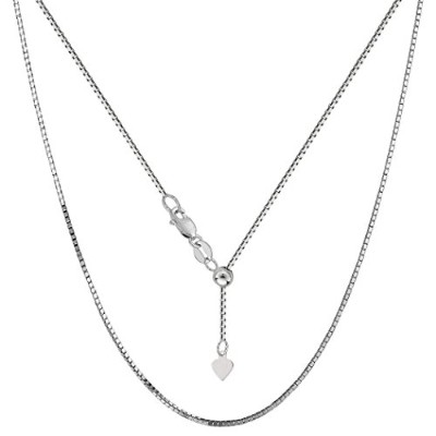 """10k White Gold Adjustable Box Link Chain Necklace, 0.85mm, 22"""""""