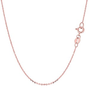 """14k Rose Gold Cable Link Chain Necklace, 1.1mm, 18"""""""