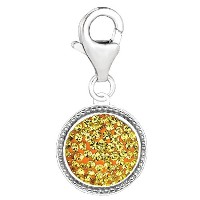 Sterling Silver Crystal November Birthstone Clip On Charm
