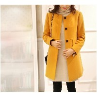 Winter Oversized O-neck Medium-long Wool Coat Women Slim Thickening A-line Trench Jacket