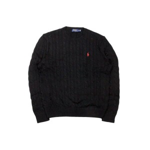 ●POLO RALPH LAUREN CABLE KNIT COTTON SWEATER (POLO BLACK)ポロラルフローレン/クルーネックセーター/黒