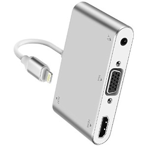 (IOS11対応) Lightning - Digital AVアダプタ Lightning to HDMI/Audio/VGA 変換アダプタ Apple iPhone iPad用 (シルバー)