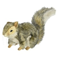 Plush Soft Toy Grey Squirrel Crouching by Hansa. 22cm .4840