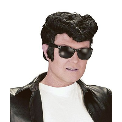 NEW BLACK GREASE WIG ELVIS STYLE WITH QUIFF