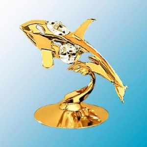 24K Gold Plated Whale Free Standing - Clear - Swarovski Crystal by Crystal Delight by Mascot