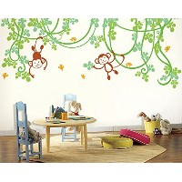 PopDecors - Playing Monkeys Kids Wall Decal - removable vinyl art wall decals stickers decal...