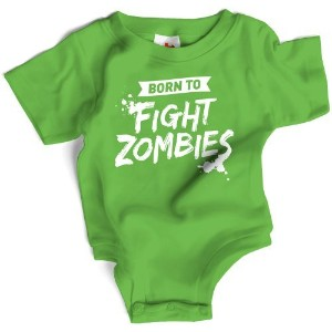 Wry Baby Born to Fight Zombies Snapsuit 0-6M Green by Wry Baby