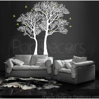 PopDecors Wall Decals & Stickers - Nature Twin Tree - Free Squeegee and color change - Tree Wall...