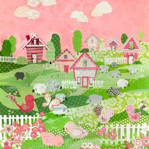 Oopsy daisy, Fine Art for Kids Counting Sheep and Birdies Pink Stretched Canvas Art by Winborg...