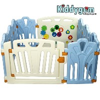 Kiddygem Puzzle and Beep Fun Baby 10 Panels Playpen, Blue by KiddyGem