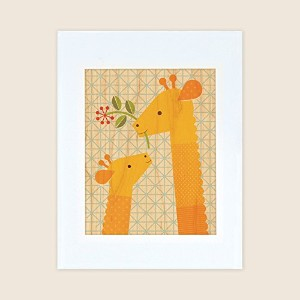 Petit Collage Unframed Print on Wood Wall Decor, Giraffe and Calf, Small by Petit Collage