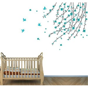 Branch Tree Decals, Flowers in Tree Stickers, Teal Gray Girls Room by Nursery Decals and More