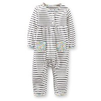 Carters Girls 3-9 Months Striped Floral Jumpsuit (18 Months) by Carter's