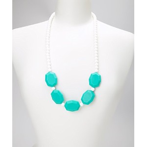 CHRISTINE TEETHING NECKLACE - TURQUOISE & WHITE by GUMEEZ