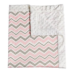 Pink Everyday Chevron Patterned Minky Dot Blanket by Gifted Living