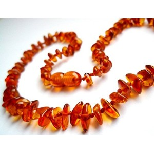 Certified Natural Batlic Amber Baby Teething Necklace - Cognac Split - *SCREW CLASP* *SAFETY...