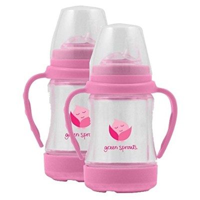 green sprouts Glass Sip 'n Straw Cup,4 ounce,2 Pack: Light Pink by green sprouts